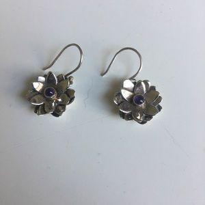 Sterling silver lotus and amethyst earrings